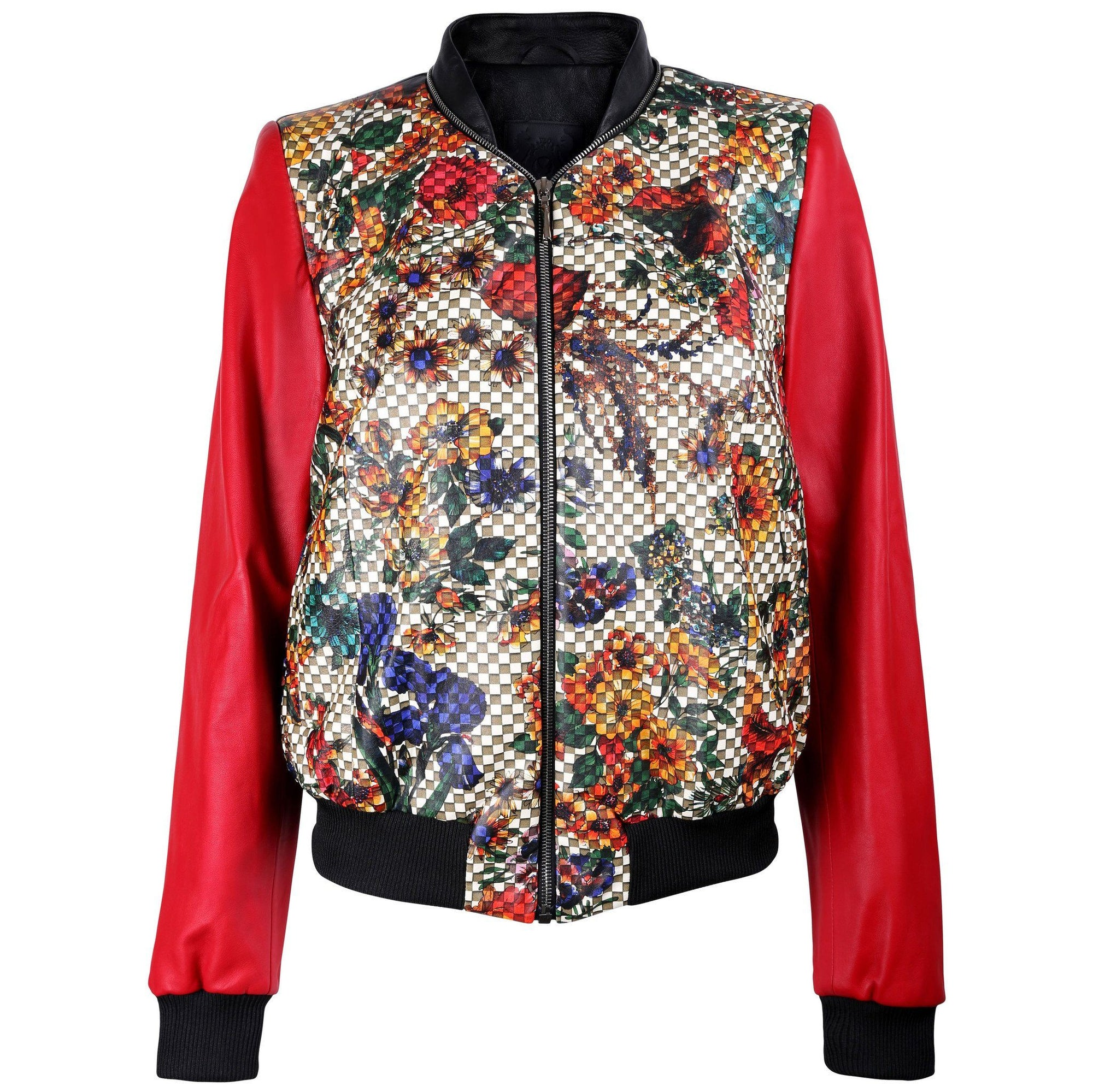 Floral Print Red Bomber Jacket - VOLS & ORIGINAL