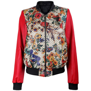 Floral Print Red Bomber Jacket