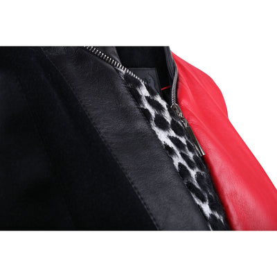 Black and Red Leather Bomber Jacket with Leopard Print Motif - VOLS & ORIGINAL