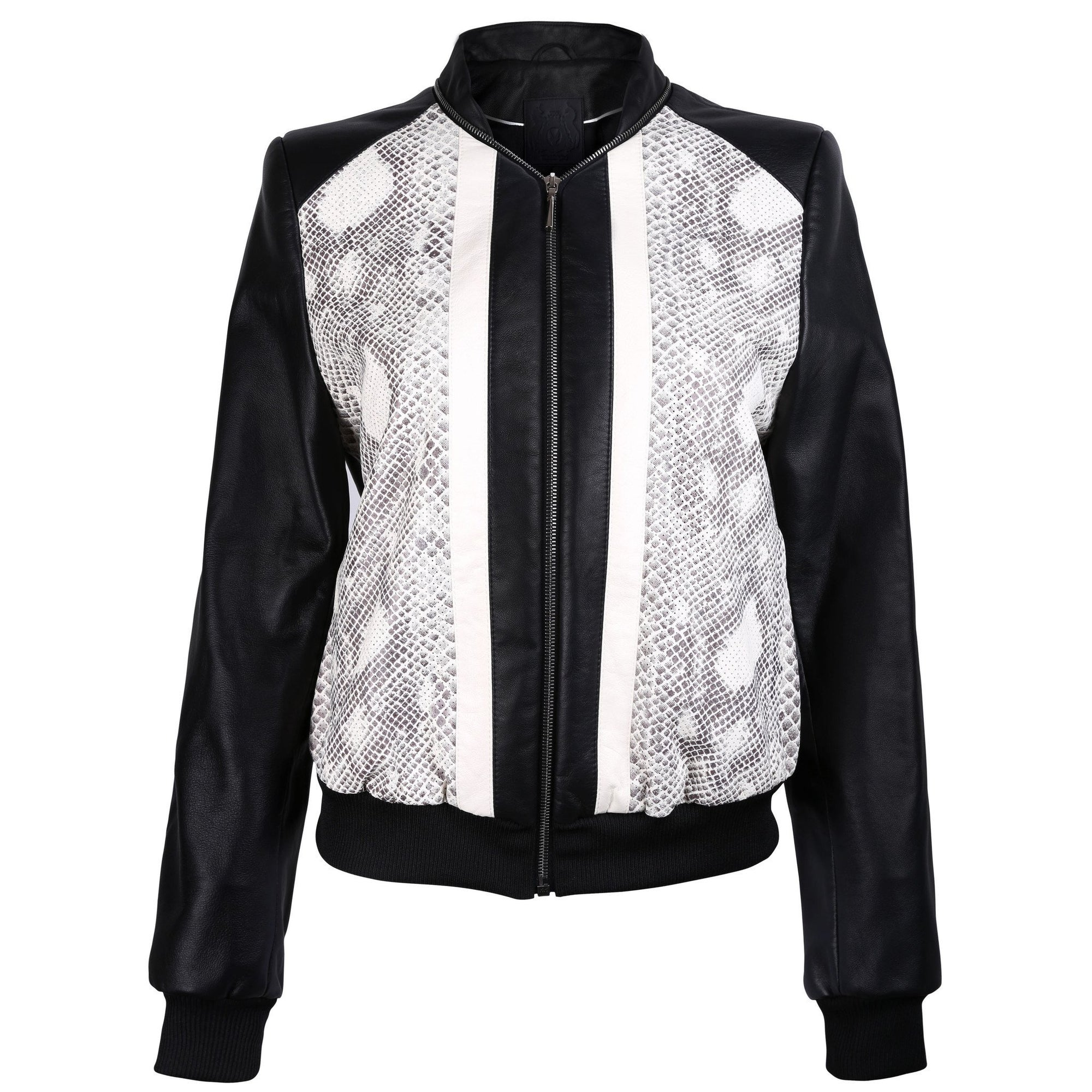 Black Leather Bomber Jacket with Snake Print - VOLS & ORIGINAL