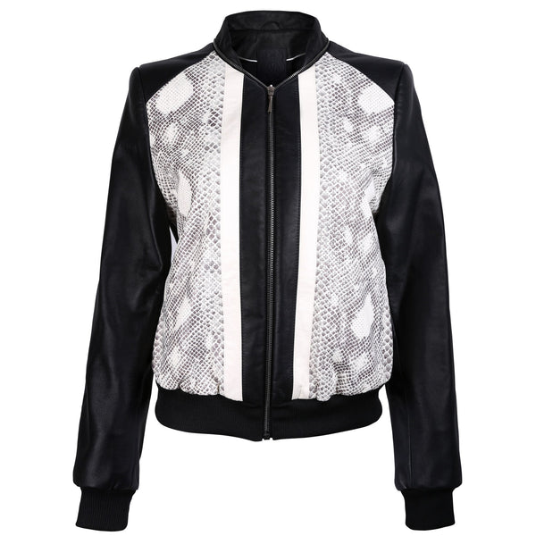 Black Leather Bomber Jacket with Snake Print