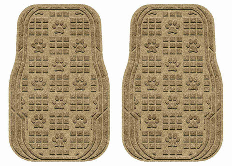 Waterhog Car Mats Paw Print Medium Front Set Camel