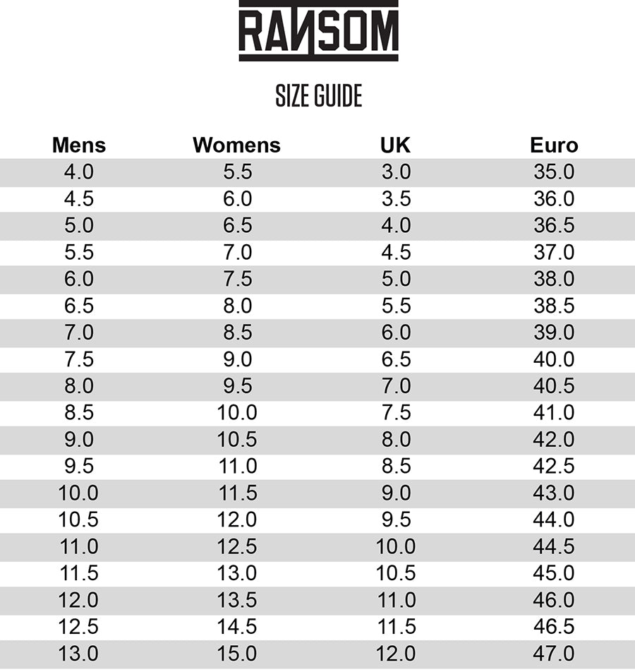 Ransom Size Chart