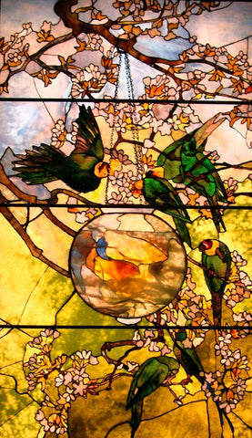 Parakeets and Goldfish Bowl by Louis Comfort Tiffany, 1893