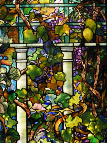Closeup of work by Louis Comfort Tiffany