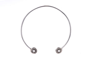 Large Circle Choker with Chain and Moonstone