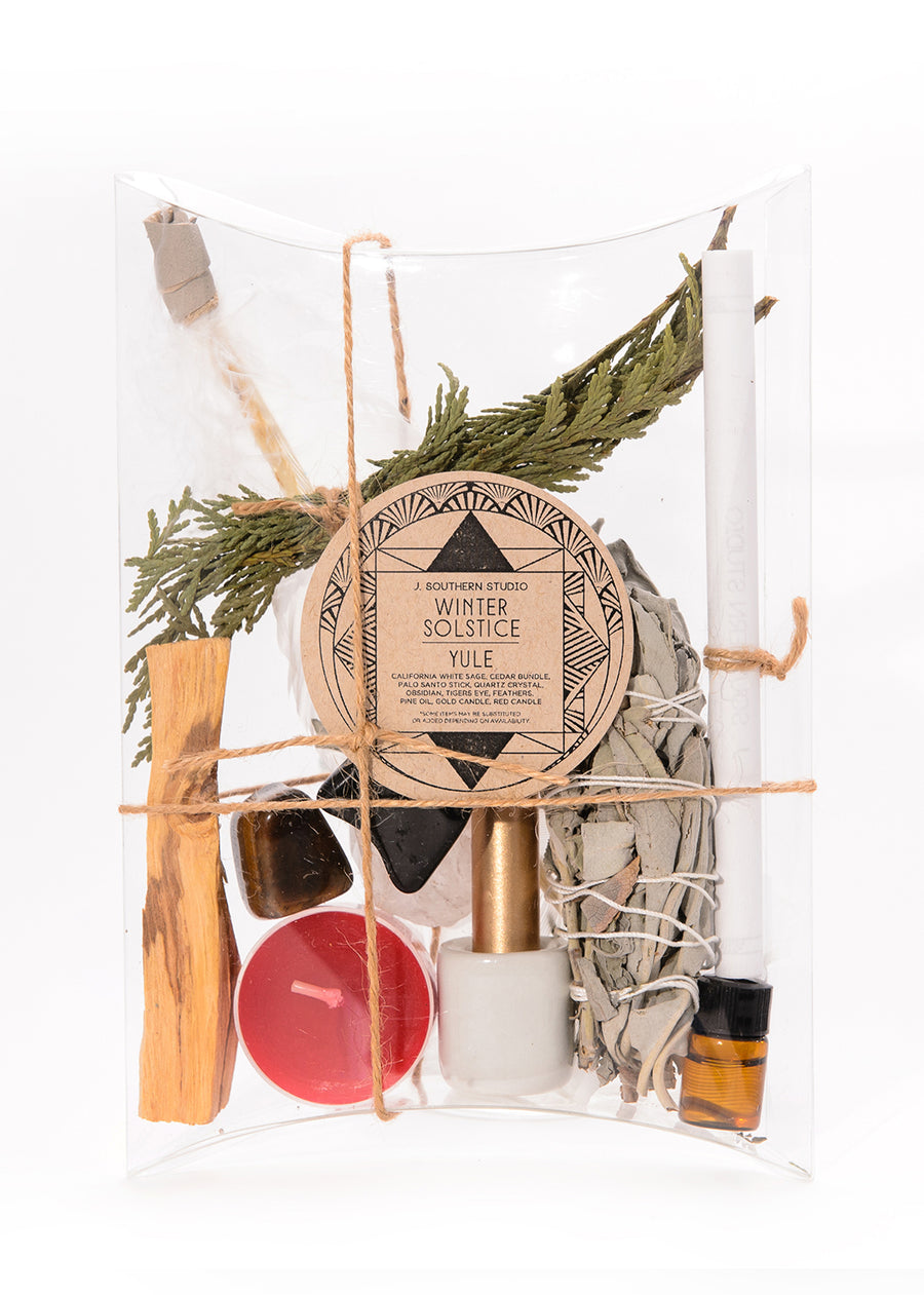 yule winter solstice spell kit ritual kit red candle pine fragrance white sage