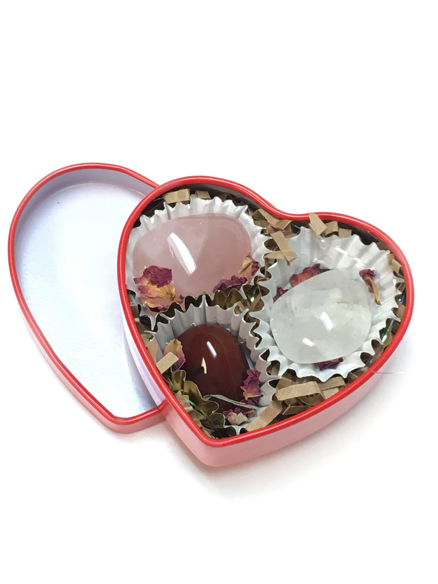 valentines day heart shaped crystal tin rose quartz carnelian chocolate box