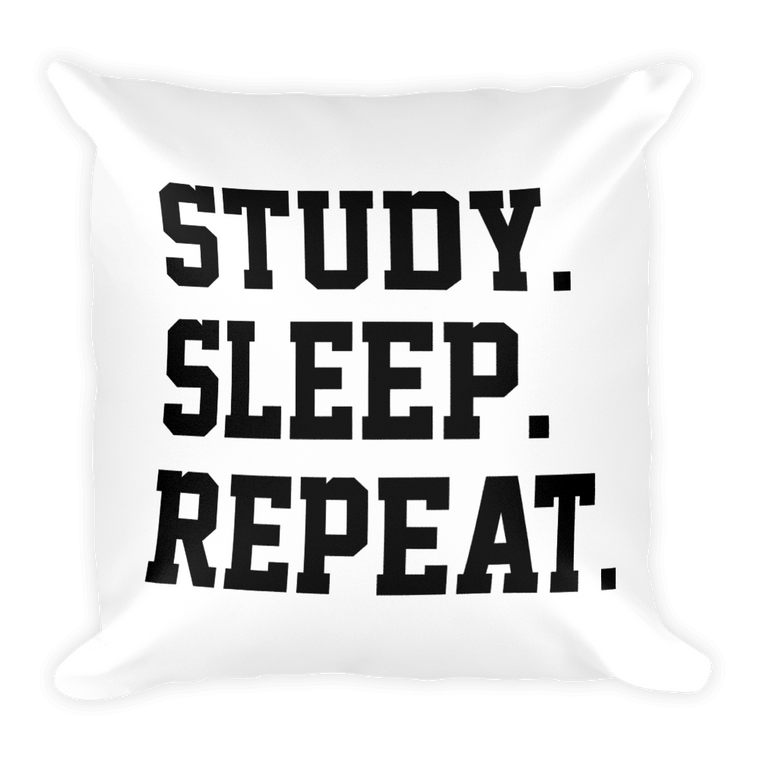 Study. Sleep. Repeat. Pillow