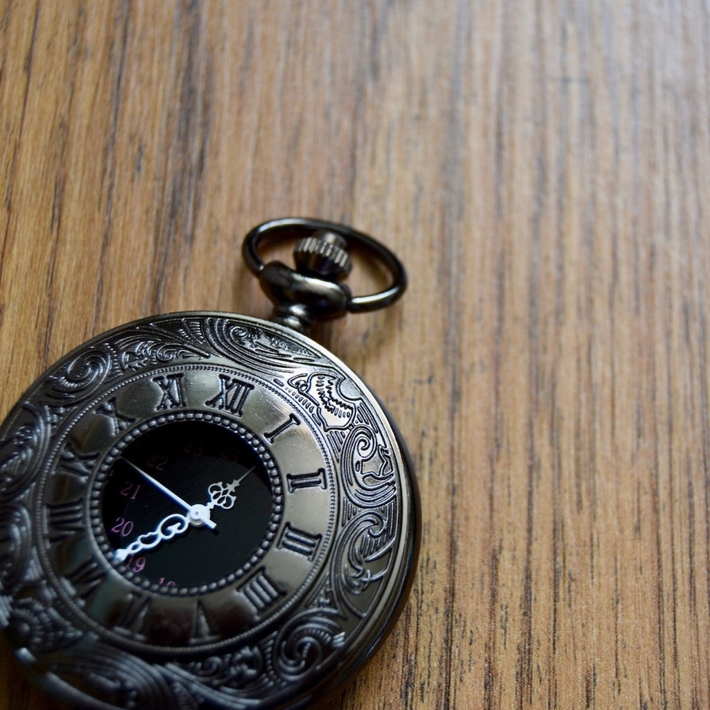 Gunmetal pocket watch front closed