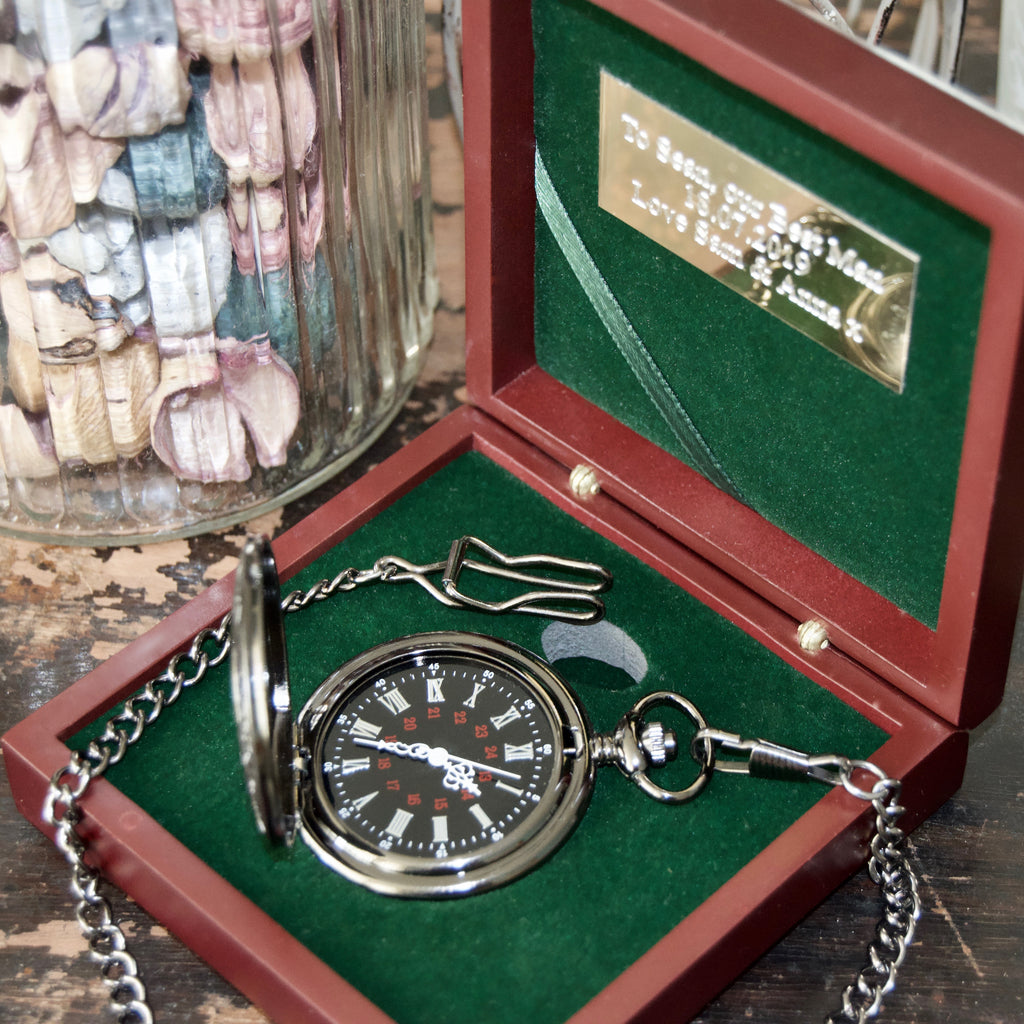 Engraved Gunmetal pocket watch & Rosewood presentation box