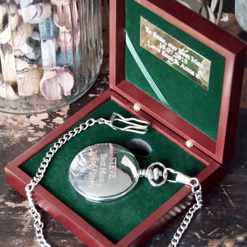 Engraved Silver pocket watch & Rosewood presentation box