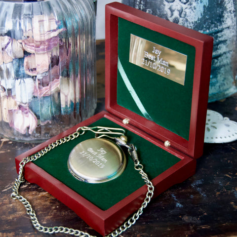 Engraved Antique Brass pocket watch & Rosewood presentation box