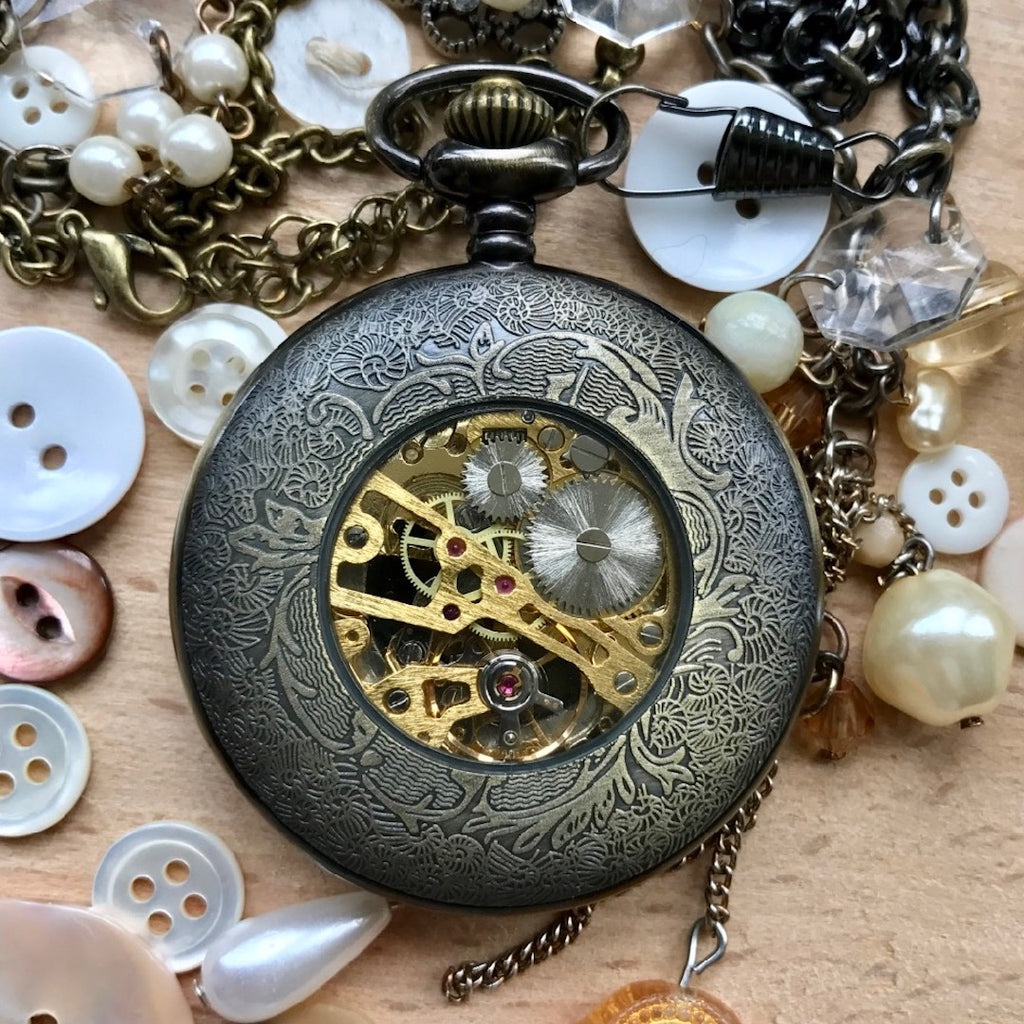 Engraved Christmas Steampunk pocket watch gifts
