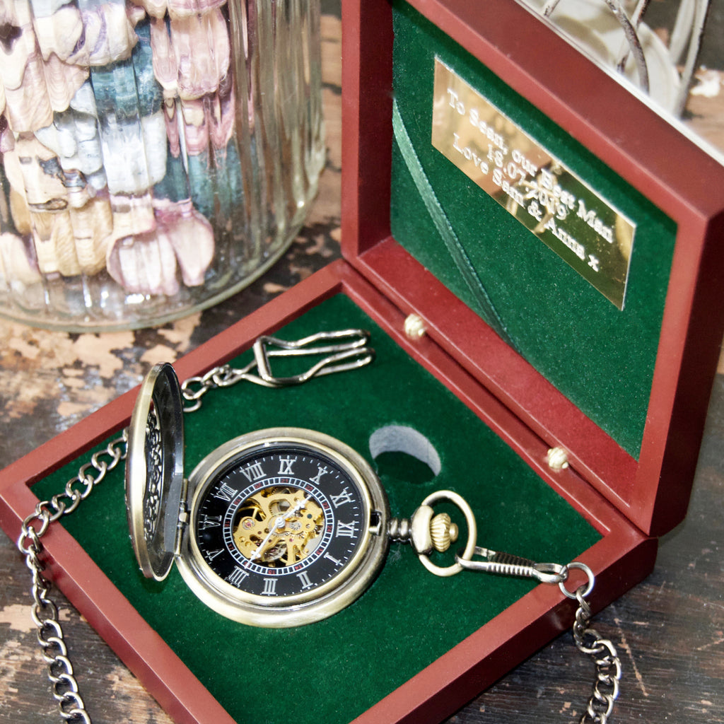 Engraved Steampunk pocket watch & Rosewood presentation box