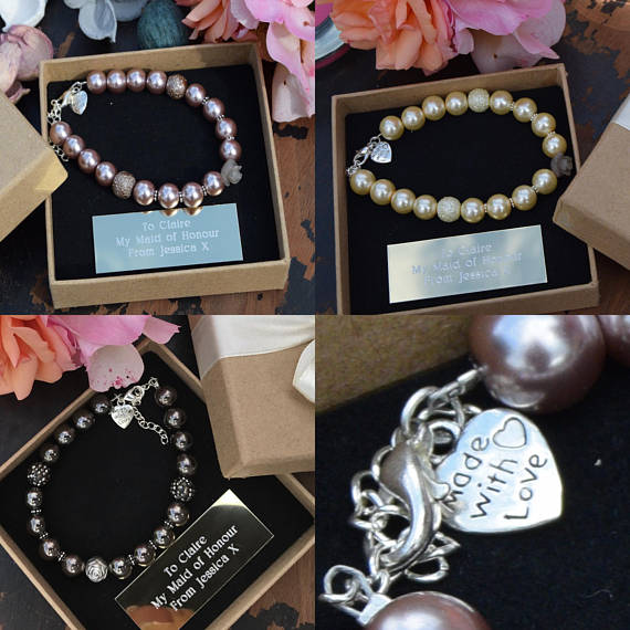 Engraved Pewter bracelet bridesmaids gifts