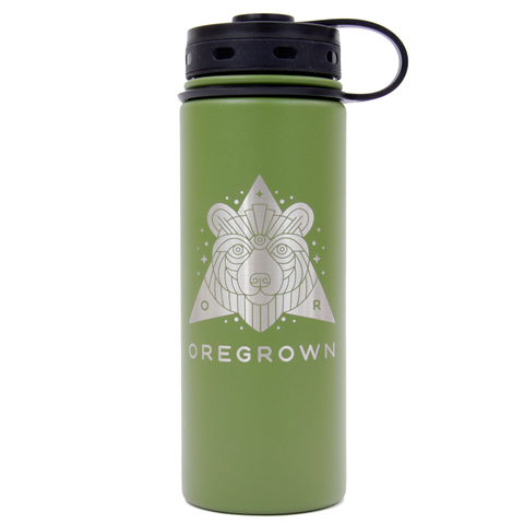 Oregrown x Fifty/Fifty Insulated Water Bottle- Green 18 oz.