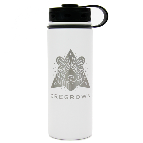 Oregrown x Fifty/Fifty Insulated Water Bottle- White 18 oz.
