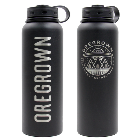 Oregrown x Fifty/Fifty Insulated Water Bottle- Black 40 oz.