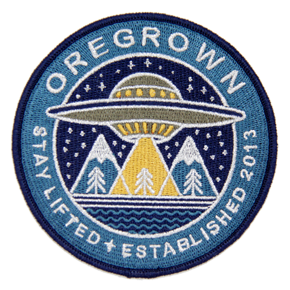 UFO Embroidered Iron On Patch- Blue
