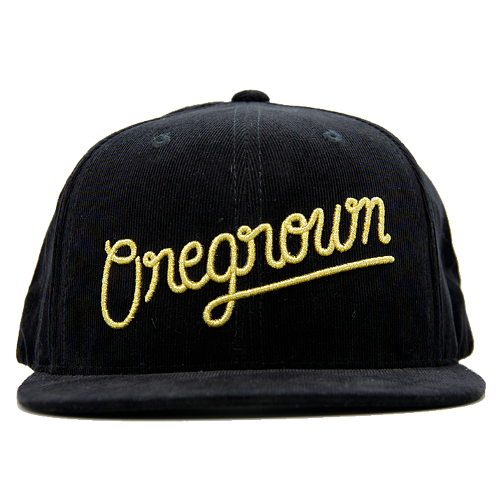 Oregrown Corduroy Snapback- Black/Gold