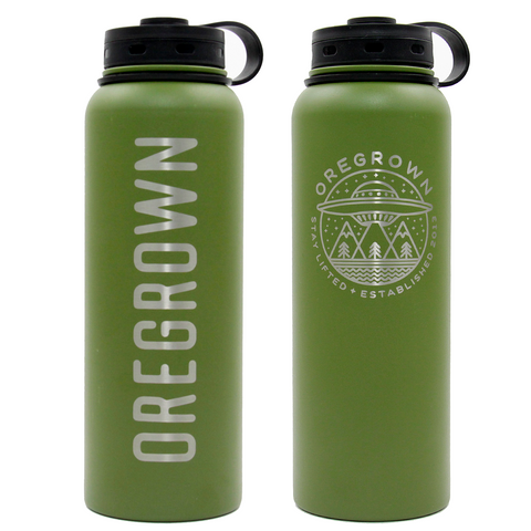 Oregrown x Fifty/Fifty Insulated Water Bottle- Green 40 oz.
