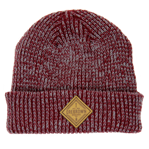 Oregrown x NGC Leather Patch Knit Beanie- Burgundy