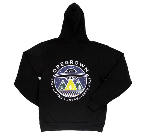 Oregrown UFO Zip Up Hoodie- Black