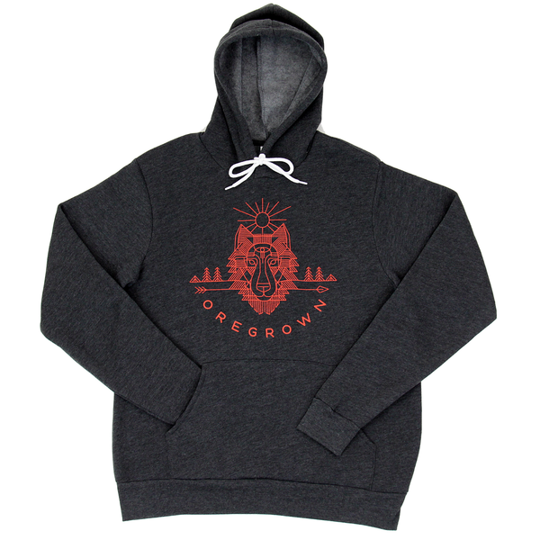 Pullover Wolf Hoodie - Charcoal Grey