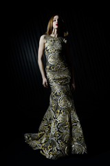 Sleeveless Floral Pop-Art Printed Gown With Hi-Low Detail