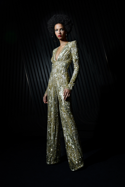 Long Sleeve Floral Sequin Embroidered Jersey Gown