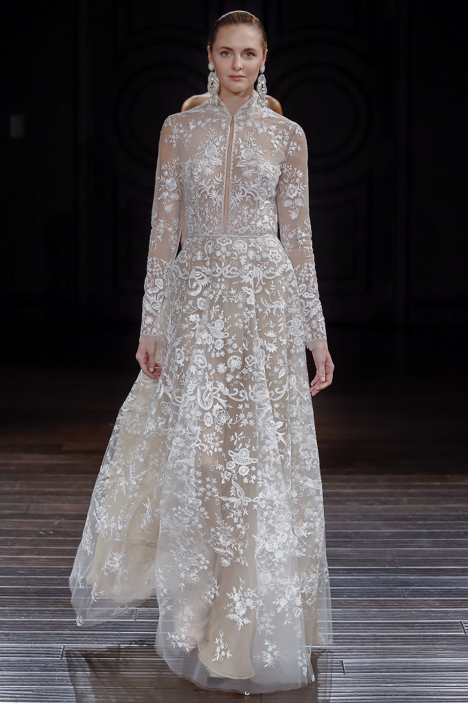 Naeem Khan Wedding Dresses Spring 2017 | Floral embroidered high collar long sleeve gown | itakeyou.co.uk #wedding #weddingdress #weddingdresses #weddinggown #bridalgown