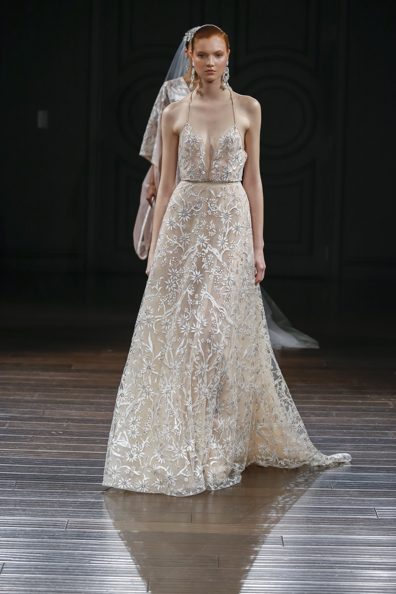 Naeem Khan Wedding Dresses Spring 2017 | Hand painted A-line gown with floral hand beadwork | itakeyou.co.uk #wedding #weddingdress #weddingdresses #weddinggown #bridalgown