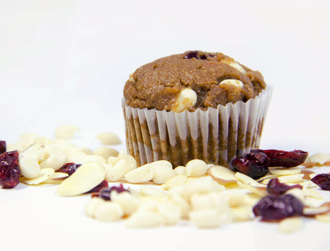 White Chocolate Cranberry Almond Mini Muffins - PEACE A' CAKE