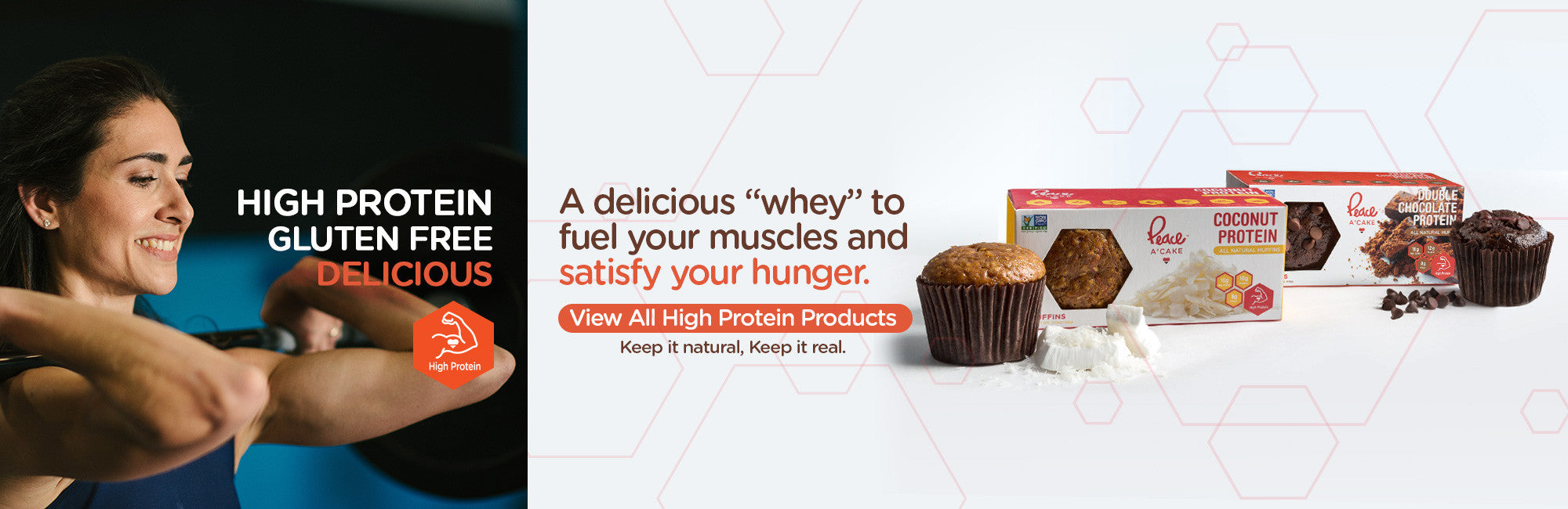 Peace A'Cake high protein gluten free products