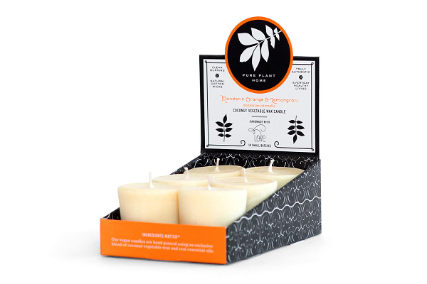 1.9 oz Votive 6 pk Mandarin Orange/Lemongrass Coconut Vegetable Wax blend w/real essential oils