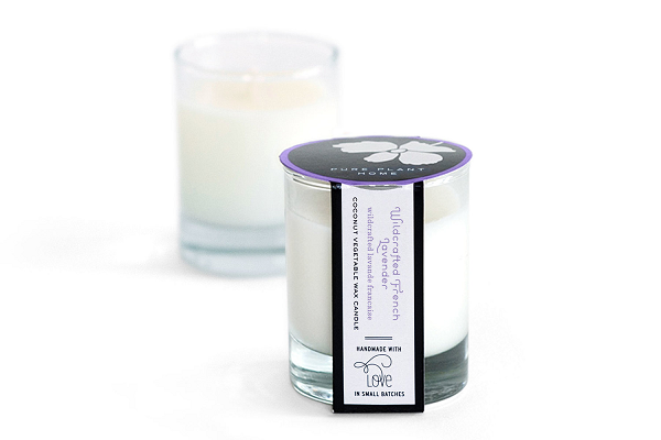 2 oz Poured Glass Votive Wildcrafted French Lavender Coconut Wax w/real essential oils