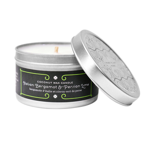 4.4 oz Medium Silver Tin Italian Bergamot/Persian Lime Coconut Wax w/real essential oils