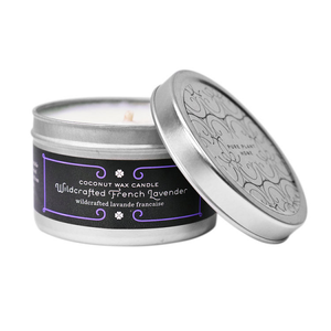 4.4 oz Medium Silver Tin Wildcrafted French Lavender Coconut Wax w/real essential oils