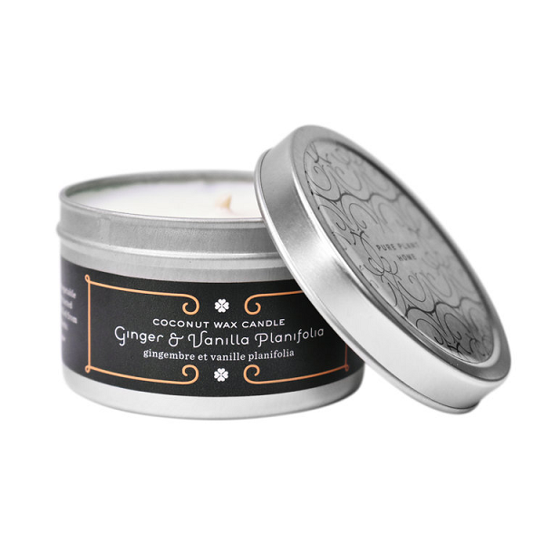 4.4 oz Medium Silver Tin Ginger/Vanilla Coconut Wax w/real essential oils