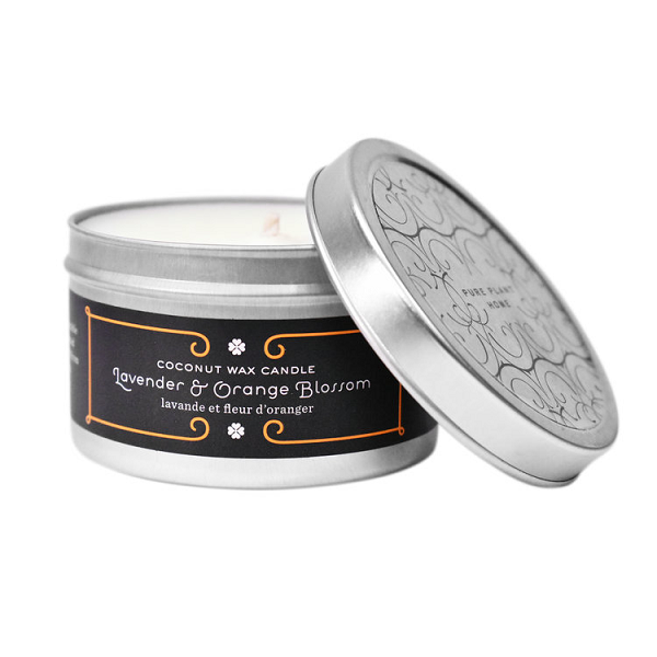 4.4 oz Medium Silver Tin Lavender/Orange Blossom Coconut Wax w/real essential oils