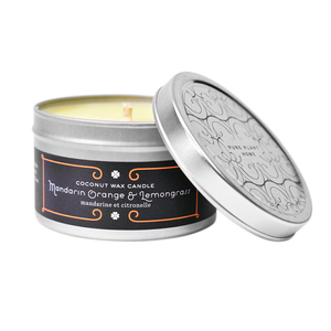 4.4 oz Medium Silver Tin Mandarin Orange/Lemongrass Coconut Wax w/real essential oils