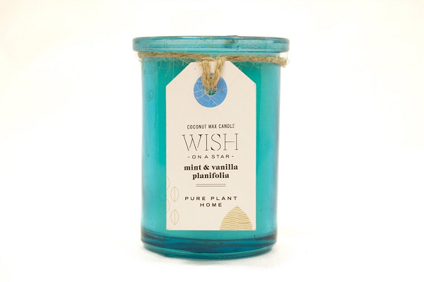 5.5 oz Recycled Aqua Glass Holiday Wish On A Star Mint/Vanilla w/real essential oils