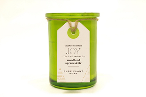 5.5 oz Recycled Green Glass Holiday Joy To The World Spruce/Fir Coconut Wax w/real essential oils