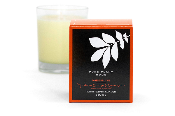 6 oz Gift Box Glass Candle Mandarin Orange/Lemongrass Coconut Wax w/real essential oils
