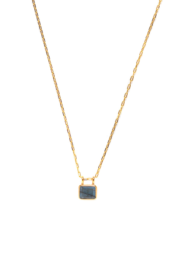 SIGNET MINI NECKLACE, LABRADORITE GEMSTONE
