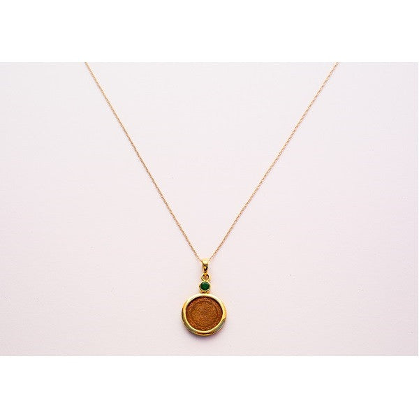 14 Karat Gold, Emerald Sri Yantra Pendant Necklace