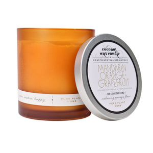8.1 oz Frosted Orange Glass Mandarin Orange + Grapefruit Coconut Wax with real essential oils