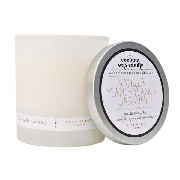8.1 oz Frosted White Glass Ylang Ylang Jasmine/Vanilla Planifolia Coconut Wax w/real essential oils