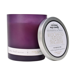 8.1 oz Frosted Purple Glass Wildcrafted French Lavender Coconut Wax w/real essential oils